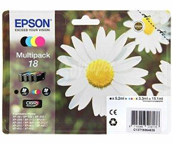 Epson Cartuchos para impresoras Multipack Nº 18 Margarita Compatible con impresoras : XP-30 /XP-102 / XP-202 / XP-205 / XP-212 / XP215 / XP 302 / XP-305 / XP-312 / XP-315 / XP-402 / XP.405 /XP-412 / XP-415
