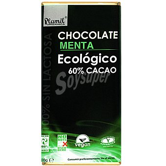 Plamil Chocolate menta ecológico 60% cacao 100% sin lactosa Tableta 100 g
