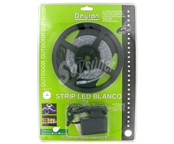 Dayron Strip led 2 metros blanco (30 led por metro), adhesivo blanco 1u