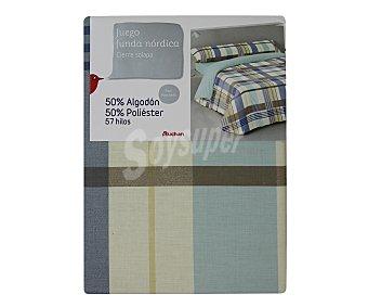 Auchan Funda para nórdico y almohada con estampado multicolor y cierre de solapa, 135cm. AUCHAN.