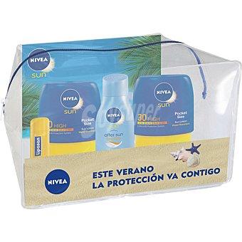 NIVEA SUN Neceser con 2 frascos loción solar Pocket Size FP-30 + after sun + liposan  1 unidad