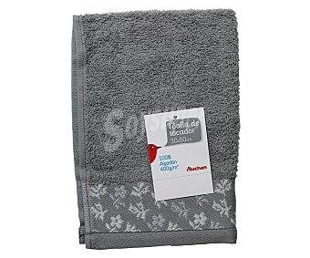 AUCHAN Toalla con estampado, 100% algodón, color gris, 30x50 centímetros 1 Unidad