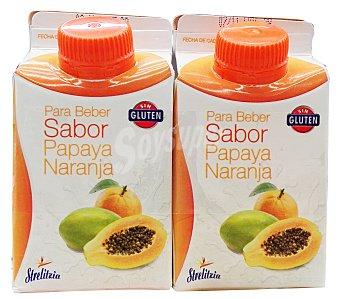 STRELITZIA Yogur liquido naranja papaya Pack 2 x 250 g