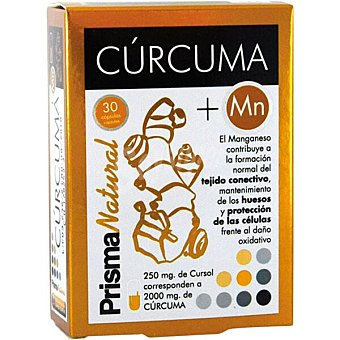 Prisma natural Cúrcuma + Mn fortalece huesos y el tejido conectivo ápsulas envase 30 c