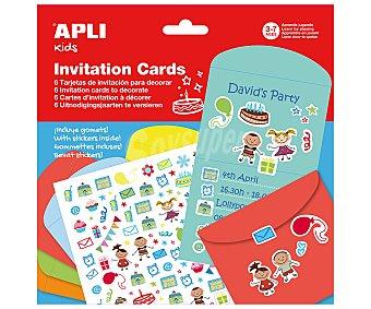 APLI 6 tarjetas de invitaciones con gomets adhesivos removibles para decorarlas 1 unidad