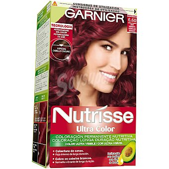 NUTRISSE Ultra Color Tinte rojo vibrante nº 6.60 coloración permanente nutritiva caja 1 unidad especial cabello oscuro Caja 1 unidad