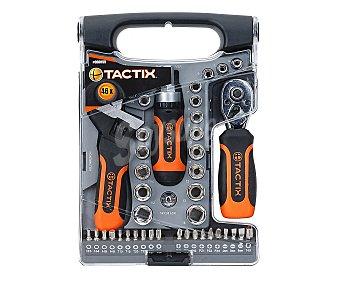 TACTIX Estuche de herramientas profesionales cone 46 piezas fabricadas en Cromo-Vanadio 1 unidad