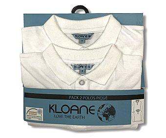 KLOANE Lote de 2 polos piqué colegiales de manga corta, unisex, color blanco, talla 16.