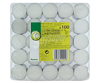 Productos Económicos Alcampo Velas calientaplatos o tealights de color blanco 100 Unidades