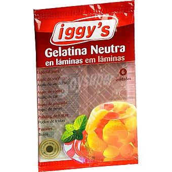 IGGY'S Gelatina en láminas Sobre 6 unidades 1,6 g