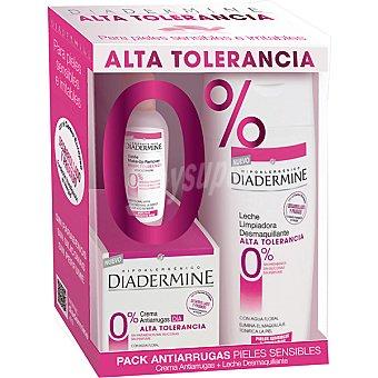 Diadermine Pack anti-arrugas con crema de día Alta Tolerancia para pieles sensibles & irritables + leche limpiadora desmaquillante