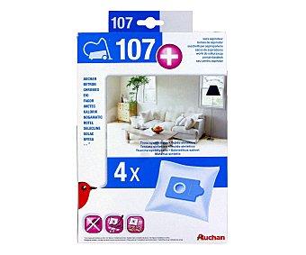 Qilive Pack de 4 bolsas de aspirador auchan Nº107+ ( Q.9346) Nº107+ (qilive Q.9346)
