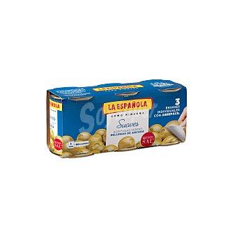 La Española Aceitunas verdes manzanilla rellenas de anchoa Pack 3 latas x 50 g