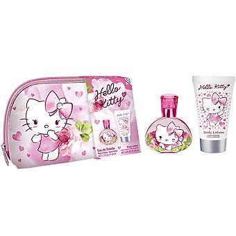 Hello Kitty Eau de toilette natural infantil + body lotion + neceser Spray 100 ml