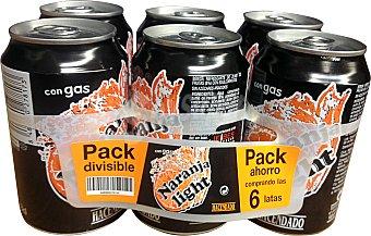 HACENDADO Naranja con gas light 6 latas de 330 ml