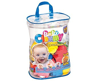 Clemmy Bolsa con 24 bloques de construcción blanditos de colores, baby clemmy