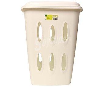 Productos Económicos Alcampo Cesto pongotodo fabricado en plástico de color blanco, 45 litros de capacidad 1 Unidad