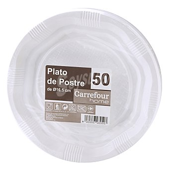 Carrefour Platos postre desechables 50 unidades
