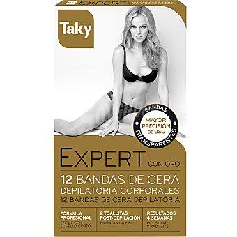 TAKY Expert con oro bandas de cera depilatoria corporales  caja 12 unidades