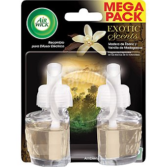 AIR WICK Ambientador eléctrico Exotic Madera de ébano y vainilla de Madagascar recambio  2 unidades