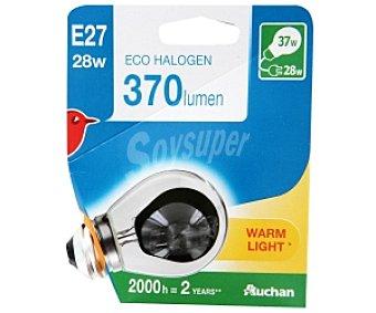 Auchan Bombilla ecohalógena esférica 28W, casquillo E27 (grueso) y luz cálida 1 unidad