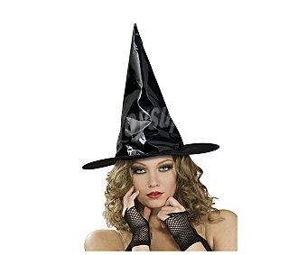 HAUNTED HOUSE Sombrero de bruja color negro brillante, Halloween Gorro bruja