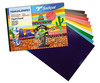 Sadipal Bloc de papel charol de 10 colores, sadipal