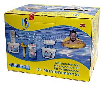 Pqs Kit de arranque para piscinas de 15 a 30 metros cúbicos, que incluye: pastillas multifunción 5 en 1 de 20 gramos - 2 kilos, cloro choque de acción rápida - 2 kilos, dosificador flotante, termómetro con forma de pato, antialgas triple acción - 1 litro y kit test pH y Cloro 1 unidad