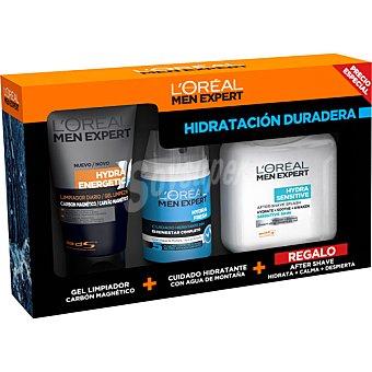 L'Oréal Men Expert Pack Hidratación duradera con gel limpiador carbón magnético + cuidado hidratante 24h con agua de montaña + regalo after shave sensitive