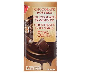 Auchan Chocolate negro 52% cacao especial postres 200 gramos