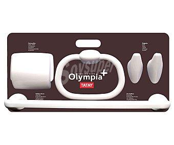 Tatay Set de baño de polipropileno color blanco, 5 piezas modelo Olympia Plus, compuesto por 2 toalleros, 2 colgadores y 1 portarrollo 1 Unidad