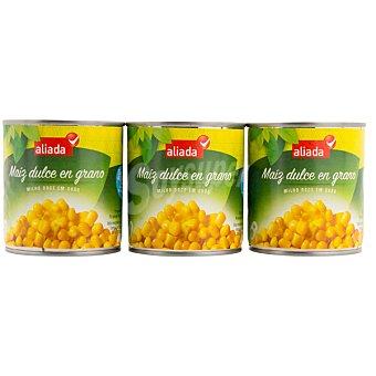 Aliada Maíz dulce en grano neto escurrido Pack 3 lata 140 g