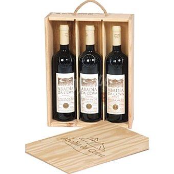 Abadía da Cova Vino tinto barrica D.O. Ribeira sacra estuche de madera 3 botella 75 cl