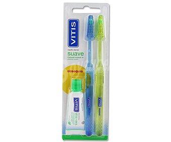 Vitis Cepillo de dientes con cabezal normal y dureza suave + dentífrico Paquete 2 unidades