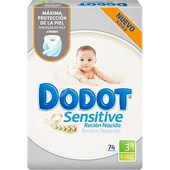 Dodot Sensitive Pañales recien nacido de 5 A 10 kg talla 3 envase 74 unidades 3 envase 74 unidades