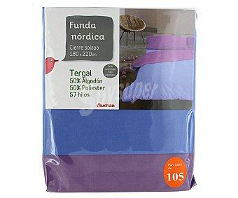 AUCHAN Funda bicolor para edredón nórdico de 105 centímetros, color azul 1 Unidad