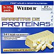 Barrita 27% proteínas sabor chocolate blanco envase 105 g pack 3 barritas Weider