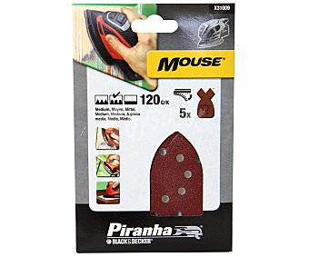 PIRANHA Hojas para lijadora Mouse Grano 120 5 Unidades