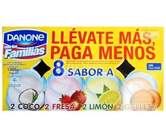 Danone Yogur varios Sabores (Fresa-Coco-Limòn-Galleta) 8x125g