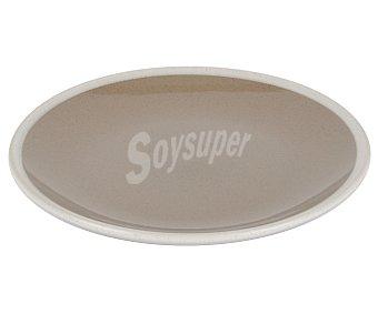 Taberseo Plato de postre de 19,5 centímetros de diámetro fabricado en gres color marrón y blanco 1 unidad
