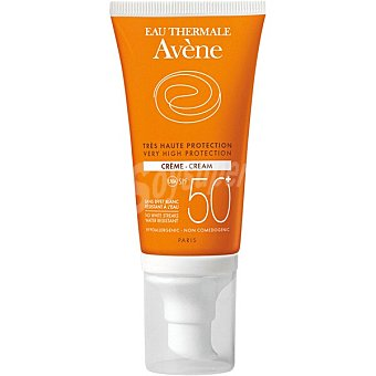 Avène Protector solar SPF 50+ crema transparente sobre la piel resistente al agua tubo 50 ml para pieles sensibles secas Tubo 50 ml