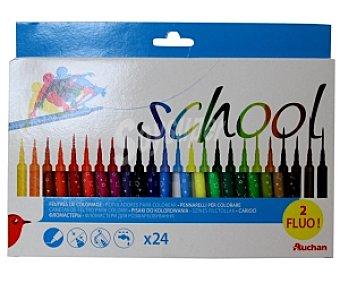Auchan Caja de 24 rotuladores con punta media, tapa ventilada de seguridad, ultralavables y de diferentes colores 1 unidad
