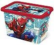 Caja infantil para ordenación con diseño de Spiderman y tapa cierre click, 13 litros, disney. 13 litros Spiderman Marvel