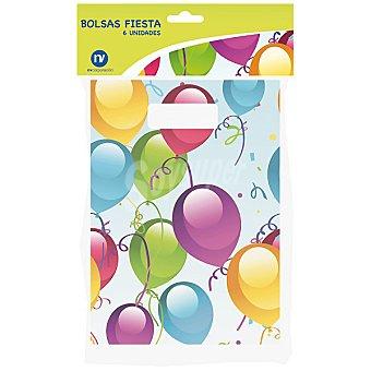 NV CORPORACION Bolsas de fiesta decoradas con globos envase 6 unidades Envase 6 unidades