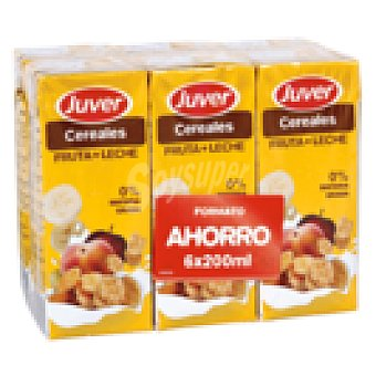 JUVER bebidas de frutas con leche cereales 6 brik 200 ml