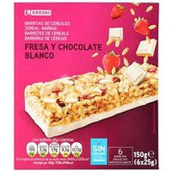 Eroski Barritas de cereales-fresa-choco 6 u de 25 g