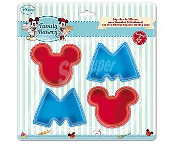 DISENEY Set de 4 cápsulas o moldes de silicona para cupcakes y pastelitos con formas de M y Mickey Mouse, modelo Family Bakery 4 unidades