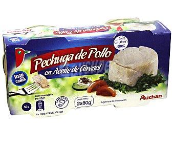 Auchan Pechuga de pollo en aceite de girasol sin gluten 2x52 gramos