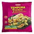 Verduras tempura congelada (cebolla, brócoli, judía verde, berenjena, calabacín, zanahoria y pimiento rojo) Paquete de 400 g Fresno