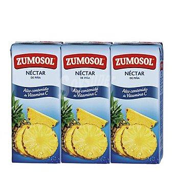 Zumosol Néctar de piña 100% Sabor sin azúcar 3 bricks de 200 ml